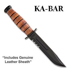 KABAR Army Serrated w/ Leather Sheath