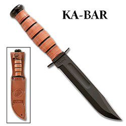 KABAR USMC Short Straight w/ Leather Sheath