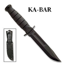 KABAR Short Black Straight w/ Leather Sheath