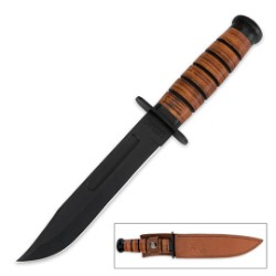USMC Combat Knife – Stacked Leather Handle, Officially Licensed