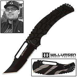 Urban Tactical Knife - 440C w/ Reverse Tanto Point - Black Combo