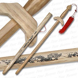 Wooden Chinese Jian Gim Tai Chi Training Sword w/ Scabbard