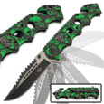Radioactive Green Skull Spring Assisted Knife