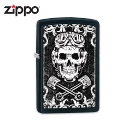 Zippo Black Skull And Pistons Lighter
