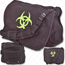 Post-apocalyptic Zombie Bag w/ Bio-hazard & Strap - Black