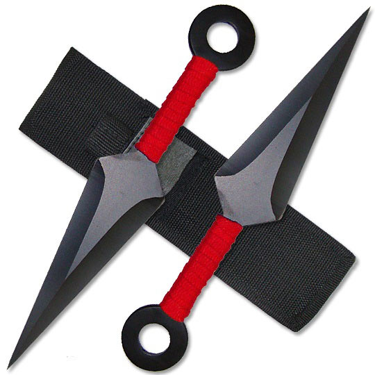 Kunai Throwing Knives - Red 8.5 Inch Set w/ Sheath | True ...