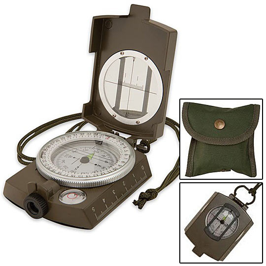Military Style Adventurer Compass w/ Pouch