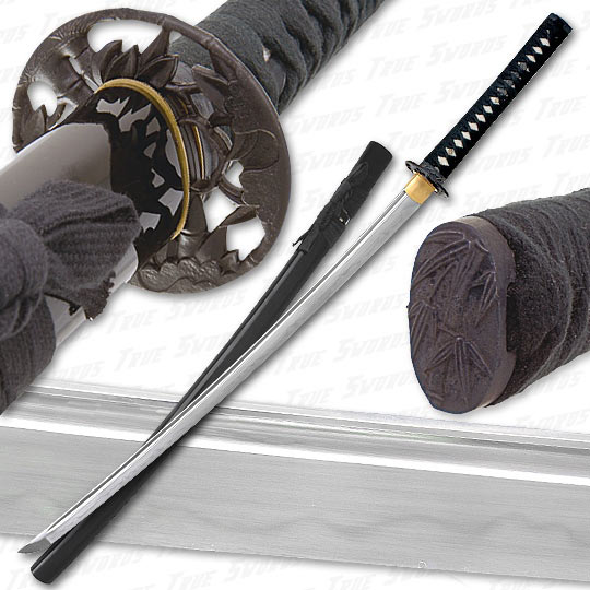 Musashi - 1060 Carbon Steel - Bamboo Warrior Sword - Black Saya
