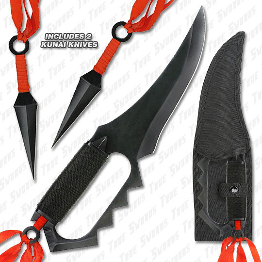 Ninja Fighter All Metal Full Tang w/ Guard & Kunai Knives ...