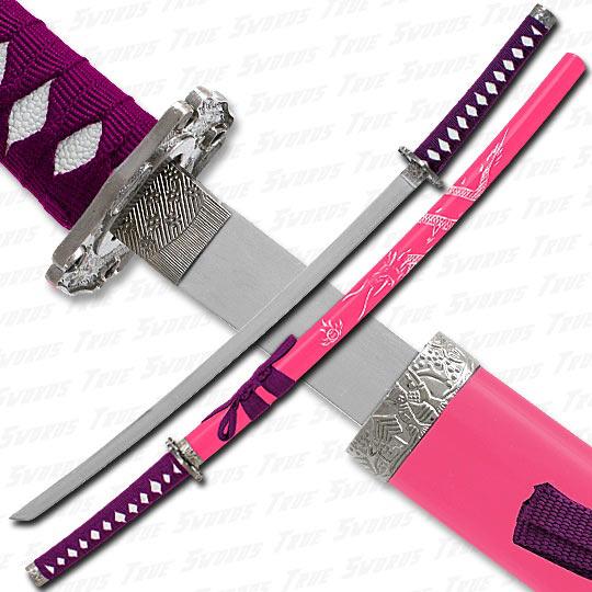 Femme Fatale Pink & Purple Engraved Dragon Katana Sword ...