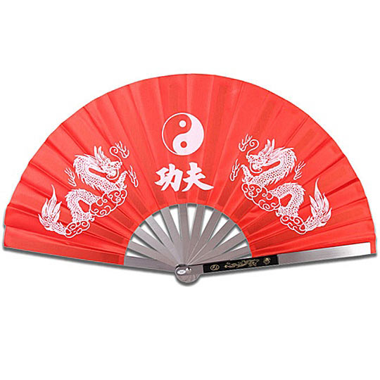 Metal Kung Fu Ninja Fighting Fan - Dragon & Yin Yang - Red