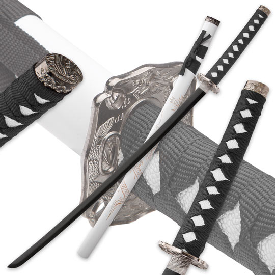 white flying dragon katana with engraved scabbard true